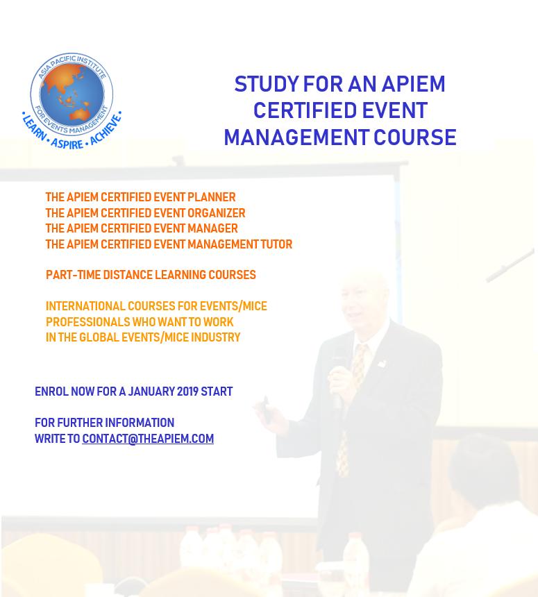 Apiem Certified Event Courses Starting January 2019 Theapiem