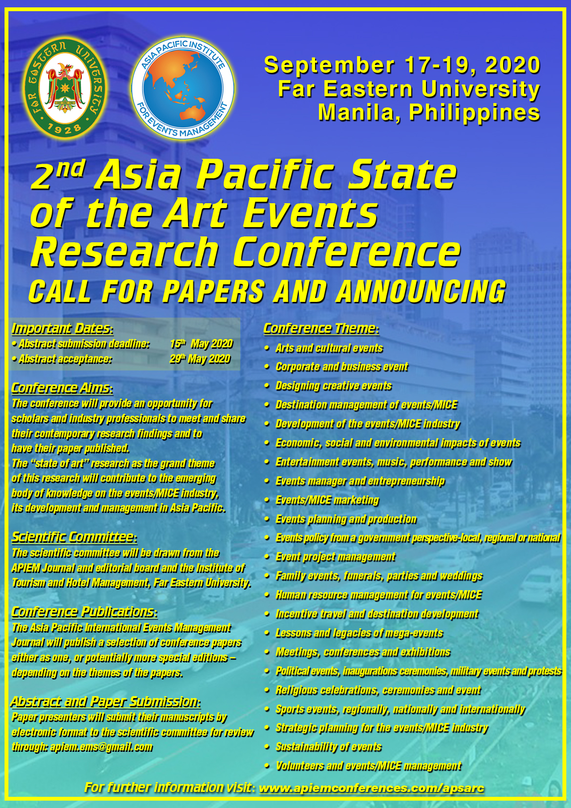 Join APIEM in Manila, Philippines 17 – 19 September 2020 for the 2nd Asia Pacific State of the Art Events Research Conference